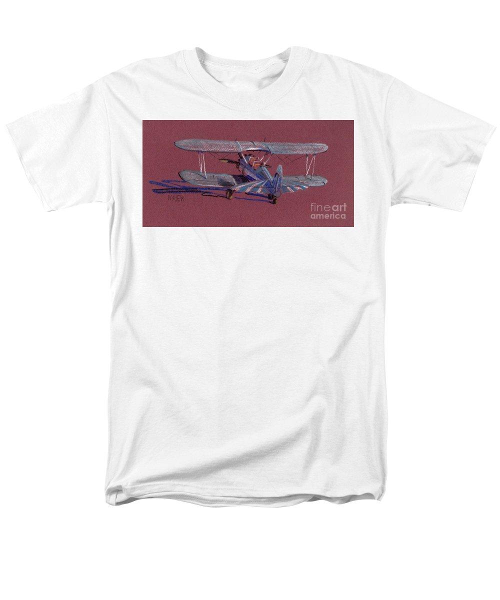 Steerman Biplane Men's T-Shirt (Regular Fit) featuring the drawing Steerman Biplane by Donald Maier