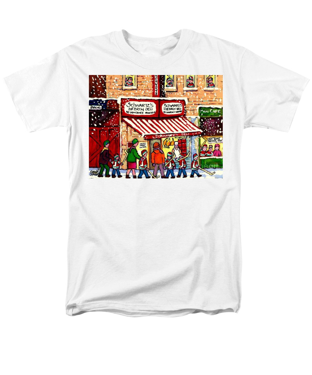 Montreal Men's T-Shirt (Regular Fit) featuring the painting Sunday Lineup at the Deli by Carole Spandau