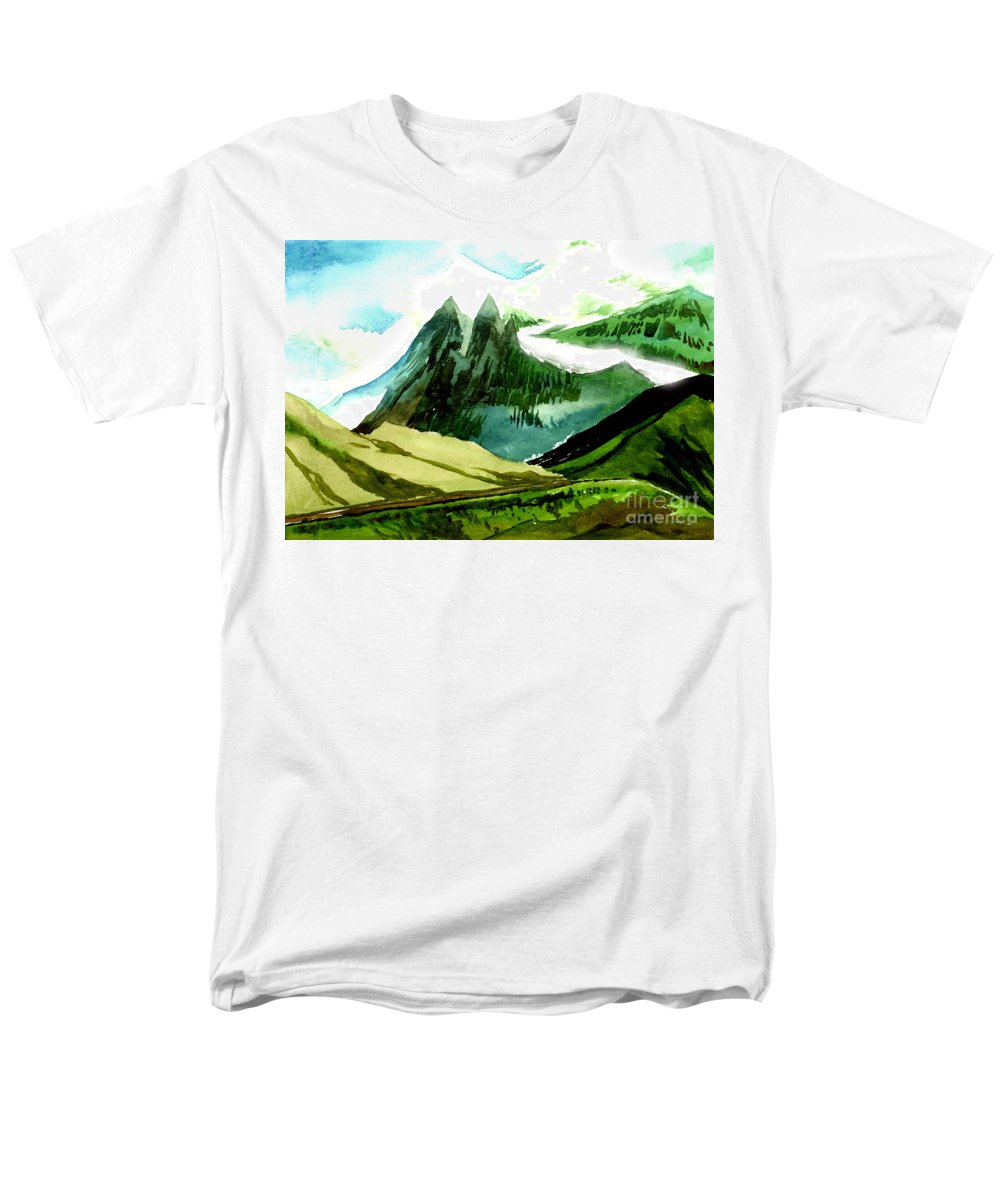 Landscape Men's T-Shirt (Regular Fit) featuring the painting Switzerland by Anil Nene