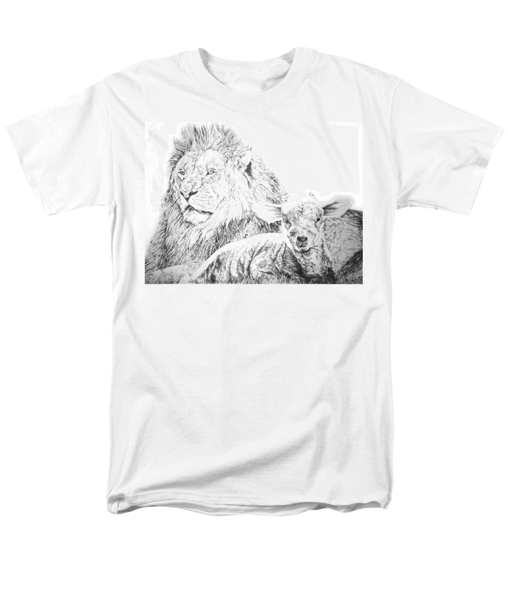 Lion Men's T-Shirt (Regular Fit) featuring the drawing The Lion and the Lamb by Bryan Bustard
