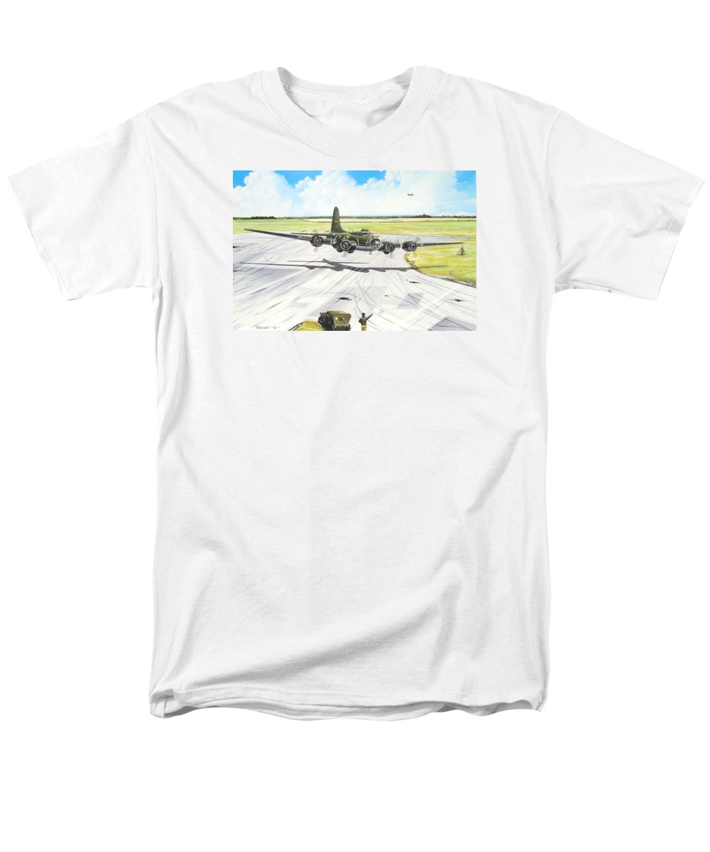 Military Men's T-Shirt (Regular Fit) featuring the painting The Memphis Belle by Marc Stewart
