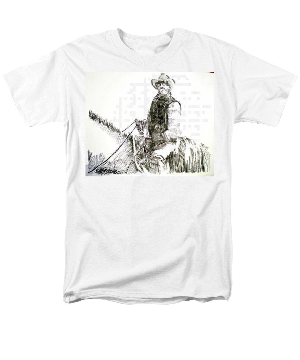 Trail Boss Men's T-Shirt (Regular Fit) featuring the drawing Trail Boss by Seth Weaver