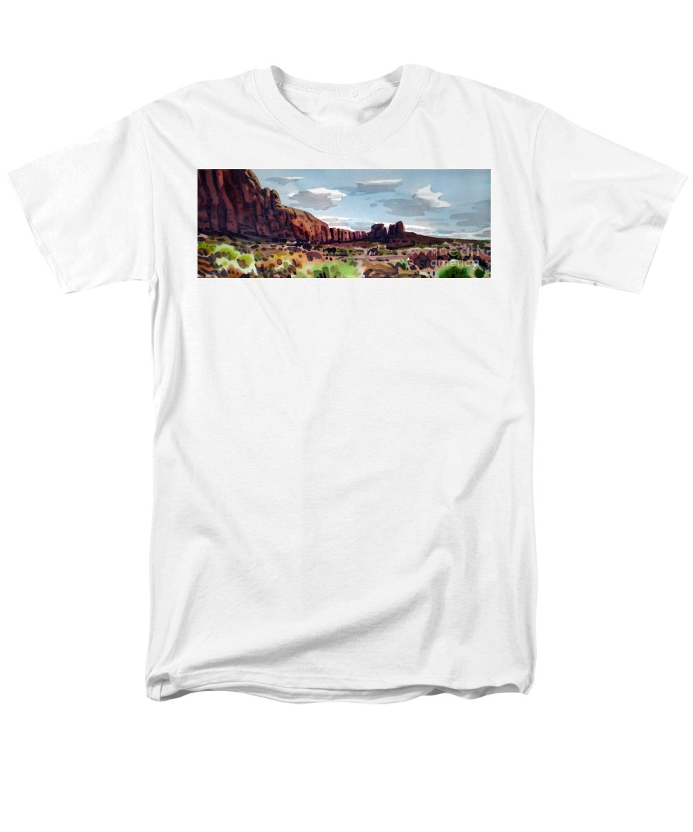 Horses Men's T-Shirt (Regular Fit) featuring the painting Two Mustangs by Donald Maier