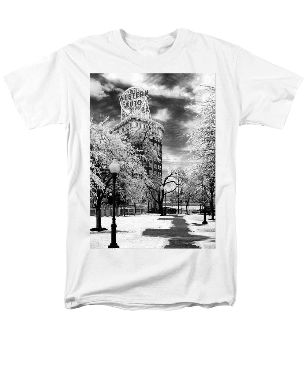 Western Auto Kansas City Men's T-Shirt (Regular Fit) featuring the photograph Western Auto In Winter by Steve Karol