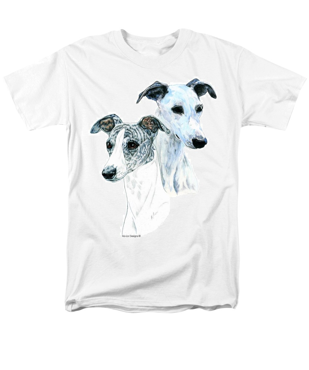 Whippet Men's T-Shirt (Regular Fit) featuring the painting Whippet Pair by Kathleen Sepulveda