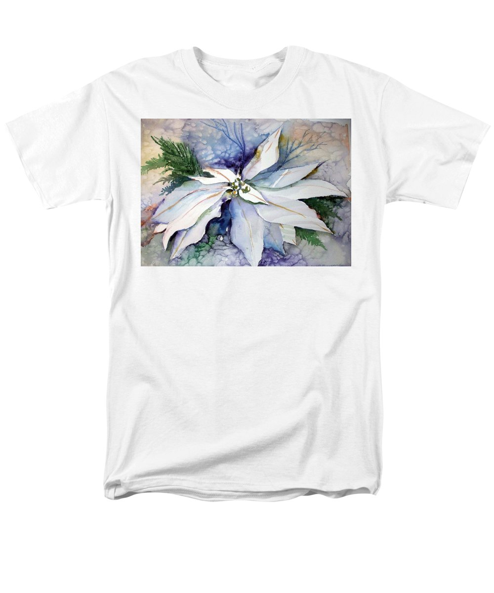 Floral Men's T-Shirt (Regular Fit) featuring the painting White Poinsettia by Mindy Newman