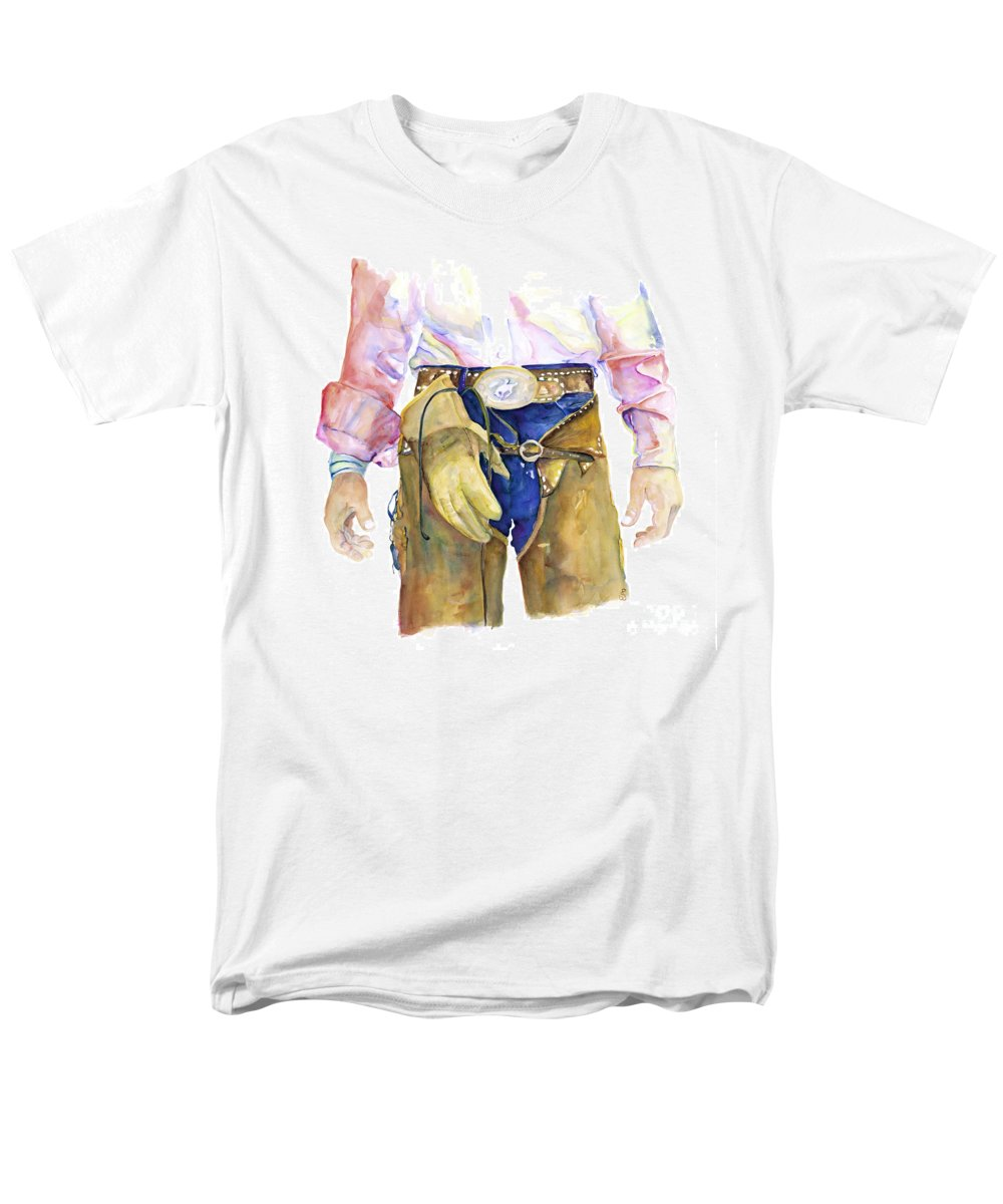 Cowboy Painting Men's T-Shirt (Regular Fit) featuring the painting Wrangler by Pat Saunders-White