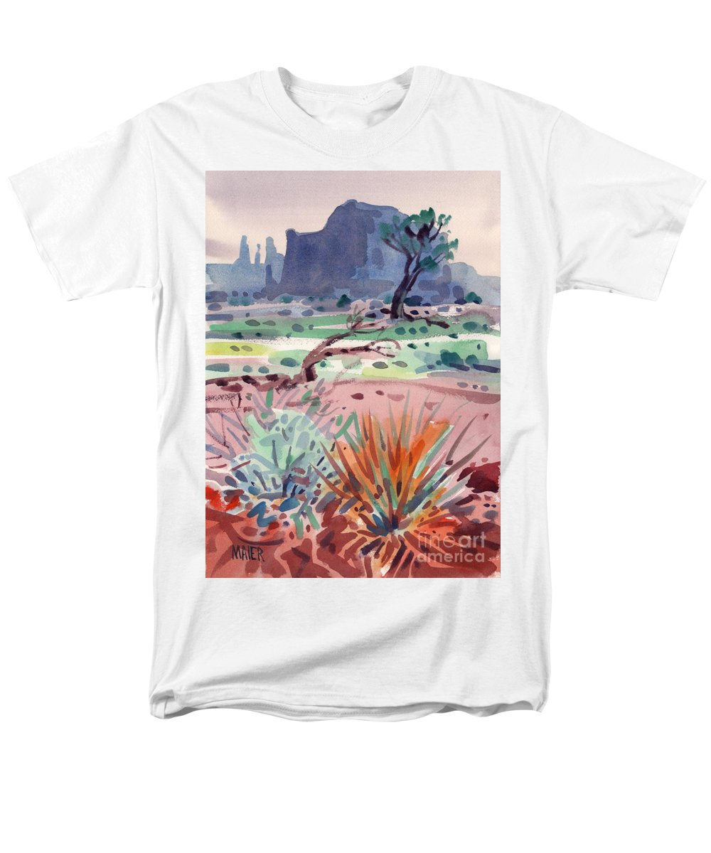 Monument Valley Men's T-Shirt (Regular Fit) featuring the painting Yucca and Buttes by Donald Maier