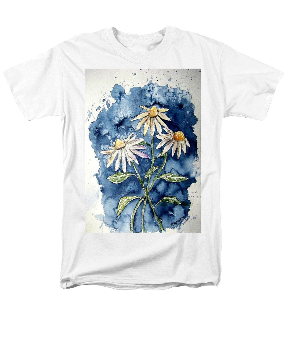 Daisy Men's T-Shirt (Regular Fit) featuring the painting 3 Daisies Flower Art by Derek Mccrea