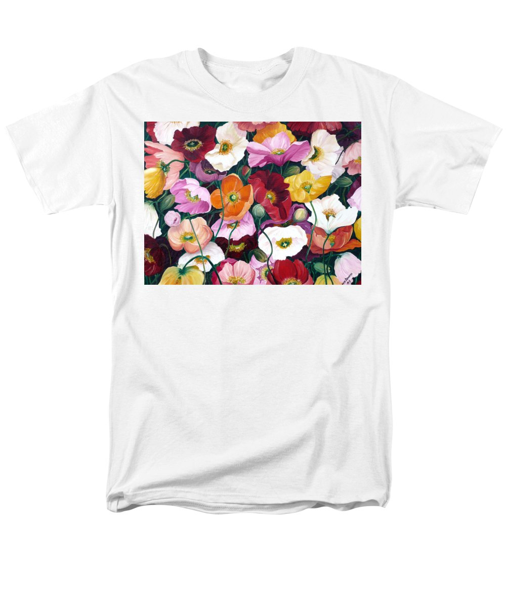 Flower Painting Floral Painting Poppy Painting Icelandic Poppies Painting Botanical Painting Original Oil Paintings Greeting Card Painting Men's T-Shirt (Regular Fit) featuring the painting Cascade Of Poppies by Karin Dawn Kelshall- Best