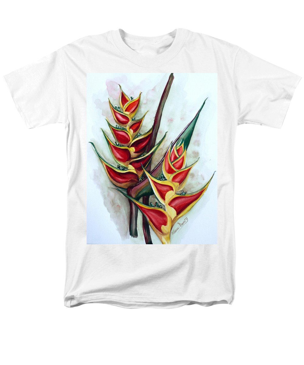 Caribbean Painting Flower Painting Floral Painting Heliconia Painting Original Watercolor Painting Of Heliconia Bloom  Trinidad And Tobago Painting Botanical Painting Men's T-Shirt (Regular Fit) featuring the painting Heliconia Tropicana Trinidad by Karin Dawn Kelshall- Best