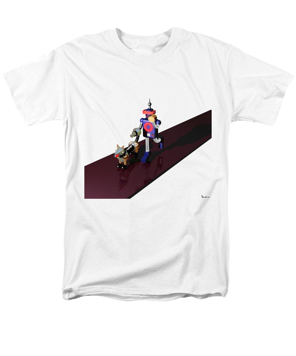 Robot Men's T-Shirt (Regular Fit) featuring the digital art Robby the Robot walks K-9 by Muirhead Gallery