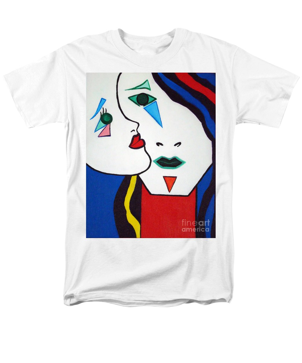Pop-art Men's T-Shirt (Regular Fit) featuring the painting You - I by Silvana Abel