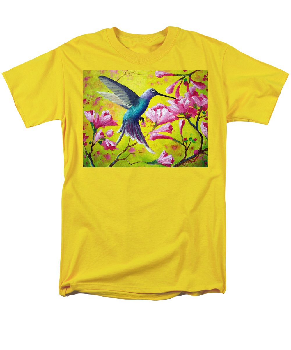 Hummingbird Men's T-Shirt (Regular Fit) featuring the painting Morning Sweets by David G Paul