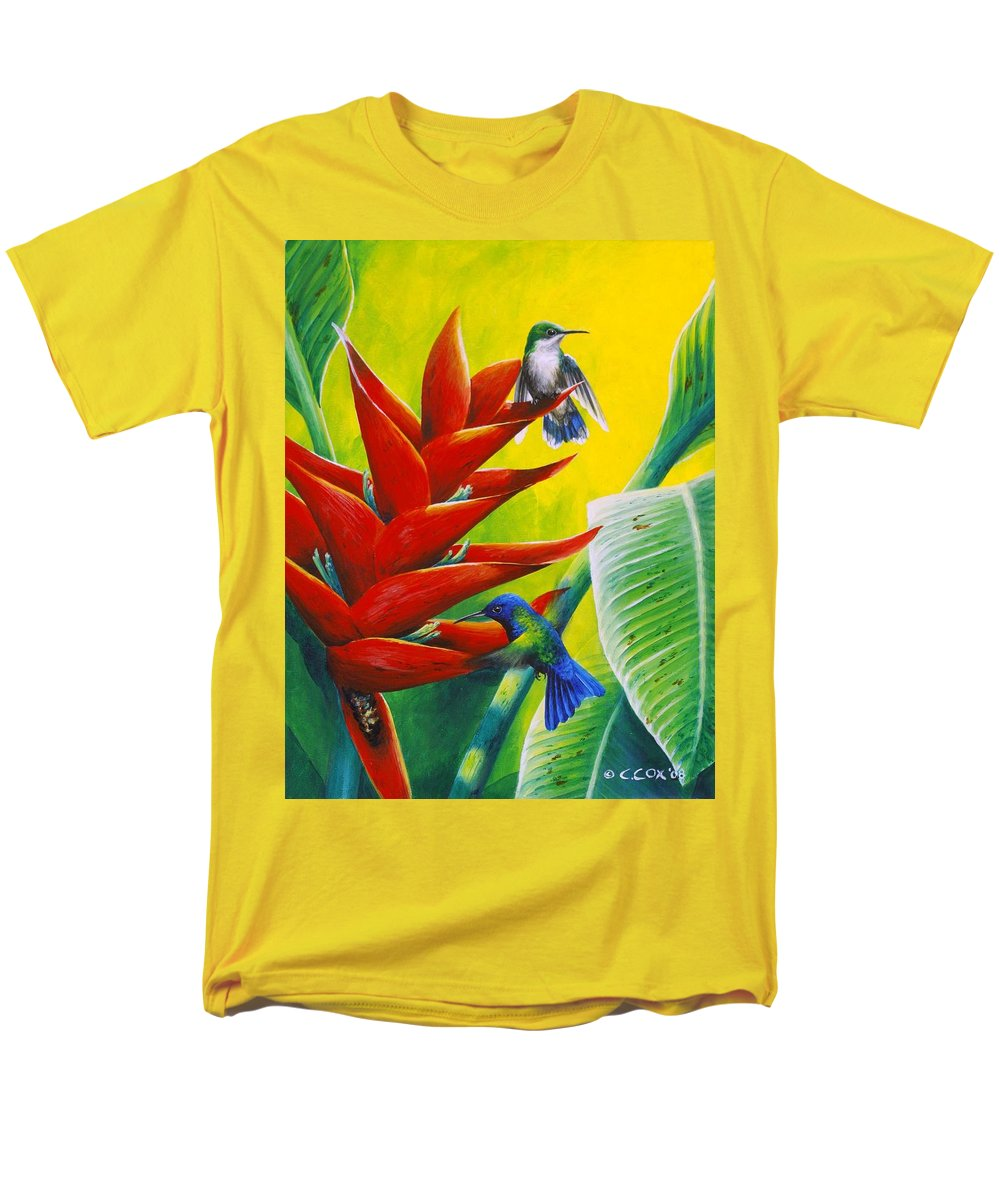Chris Cox Men's T-Shirt (Regular Fit) featuring the painting Blue-headed Hummingbirds and heliconia by Christopher Cox