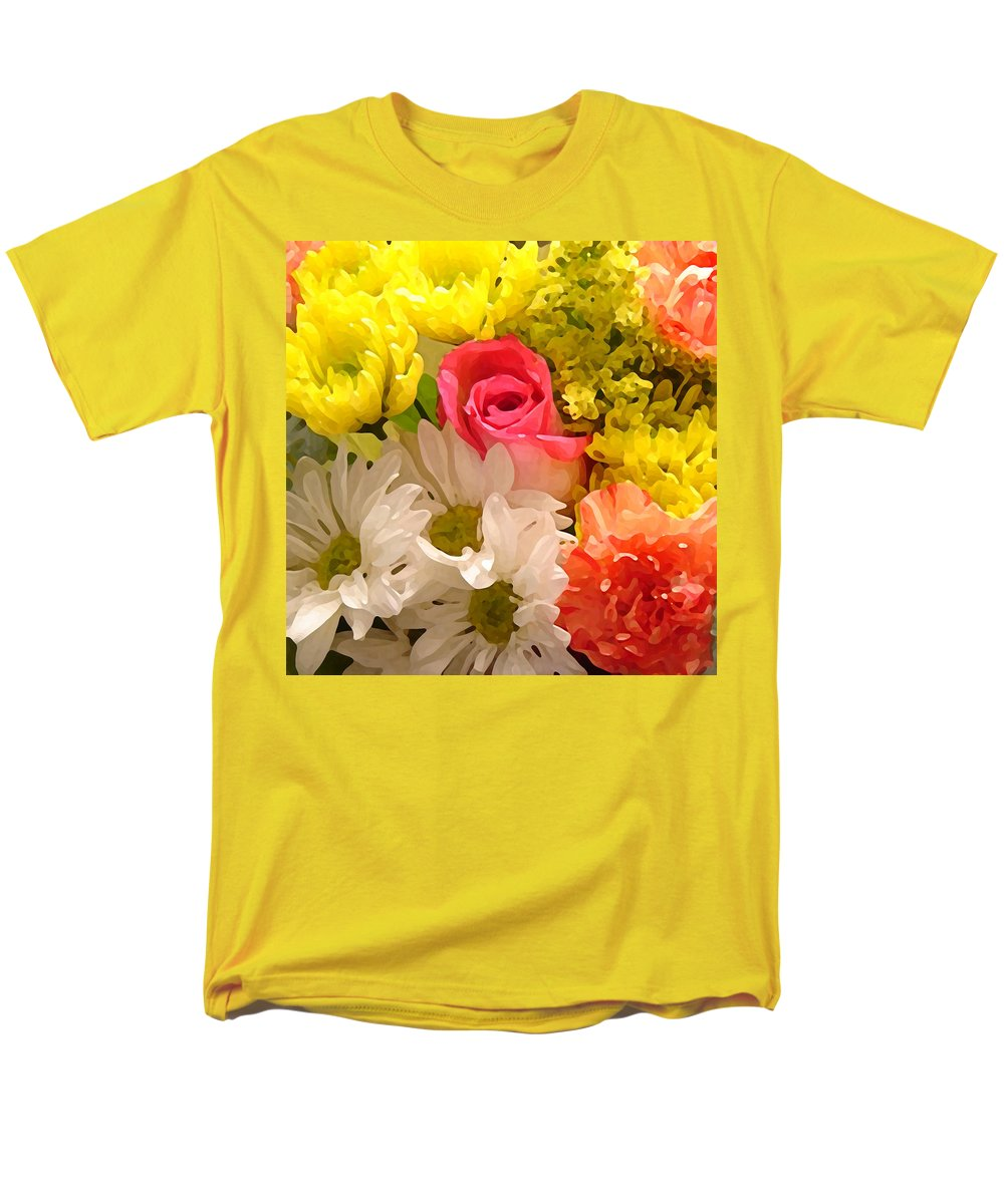 Floral Men's T-Shirt (Regular Fit) featuring the painting Bright Spring Flowers by Amy Vangsgard