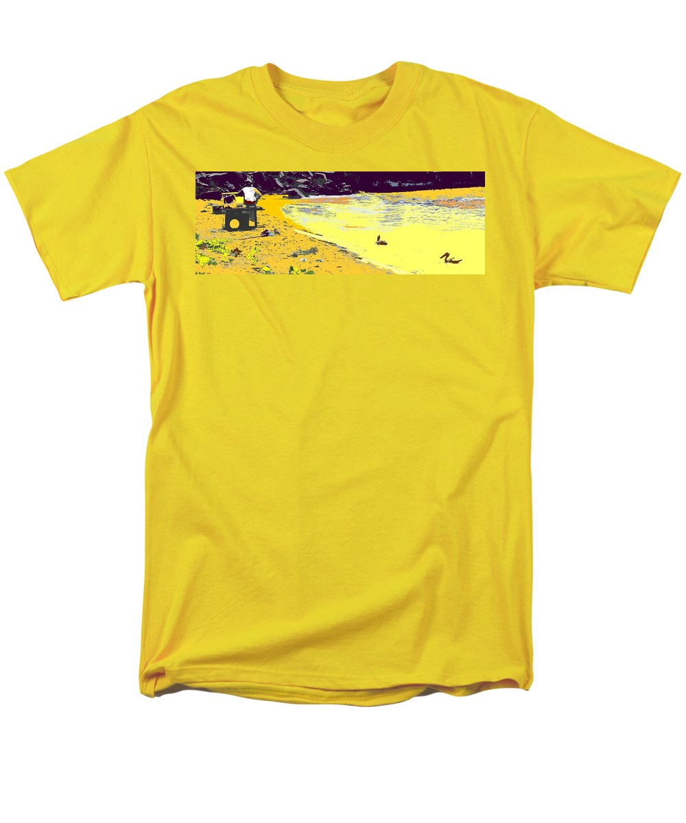 St Kitts Men's T-Shirt (Regular Fit) featuring the photograph Feeding The Pelicans by Ian MacDonald