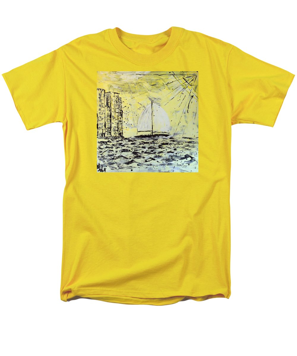 Sailboat With Sunray Men's T-Shirt (Regular Fit) featuring the painting Sail And Sunrays by J R Seymour