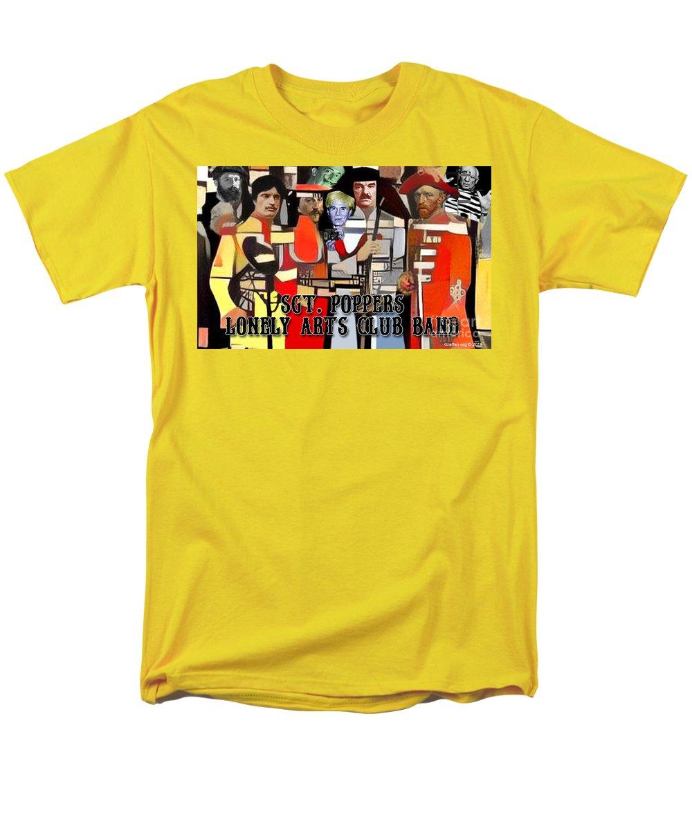 Cubism Men's T-Shirt (Regular Fit) featuring the digital art Sgt. Popper's Lonely Arts Club Band by Ignatius Graffeo