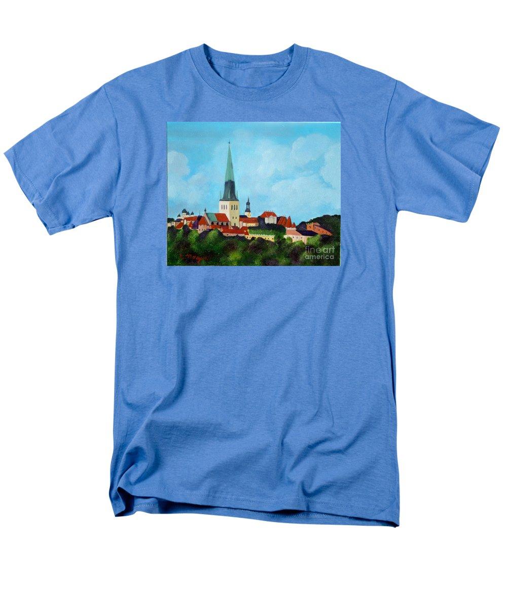 Tallinn Men's T-Shirt (Regular Fit) featuring the painting Medieval Tallinn by Laurie Morgan