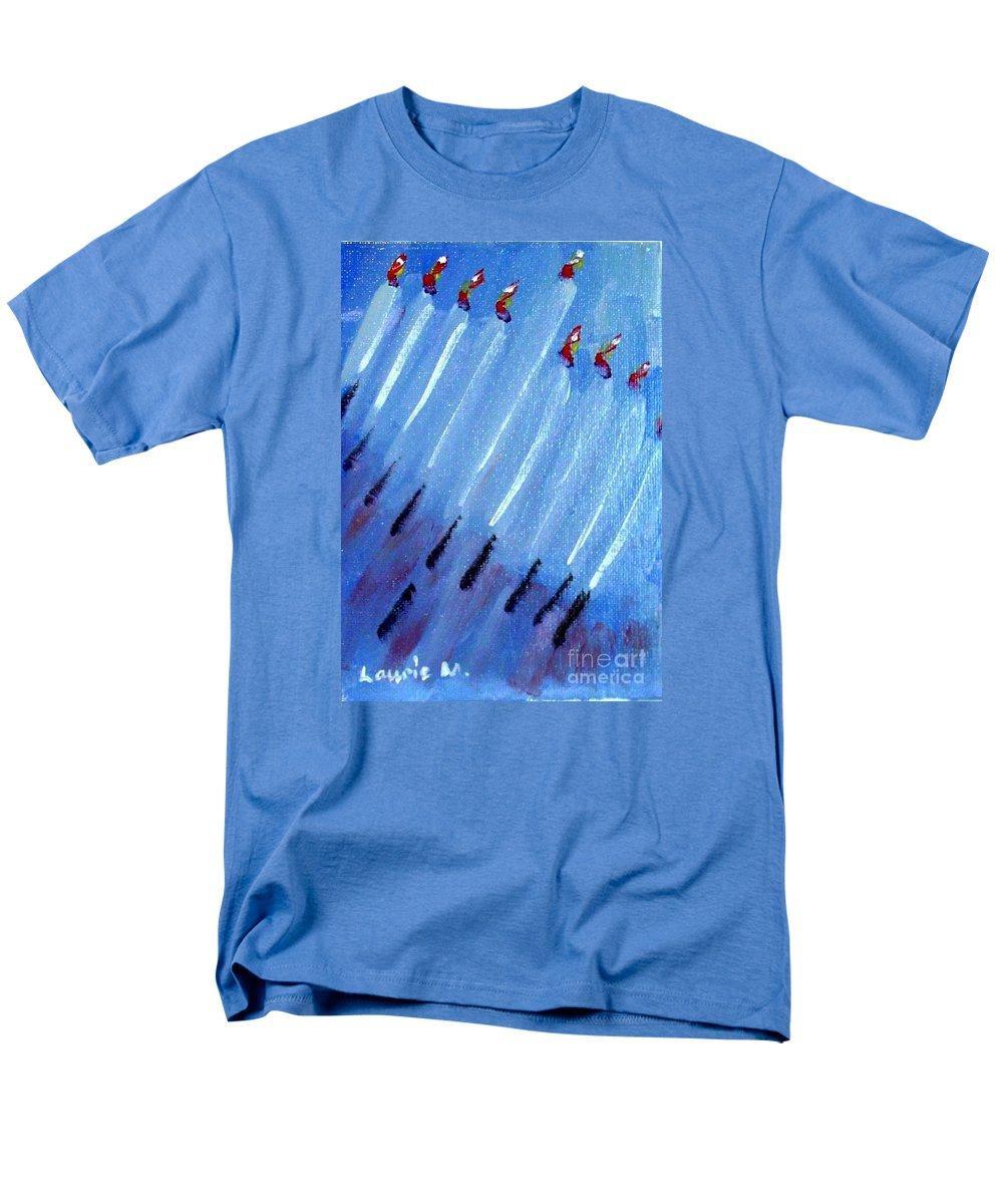 Menorah Men's T-Shirt (Regular Fit) featuring the painting Modern Menorah by Laurie Morgan