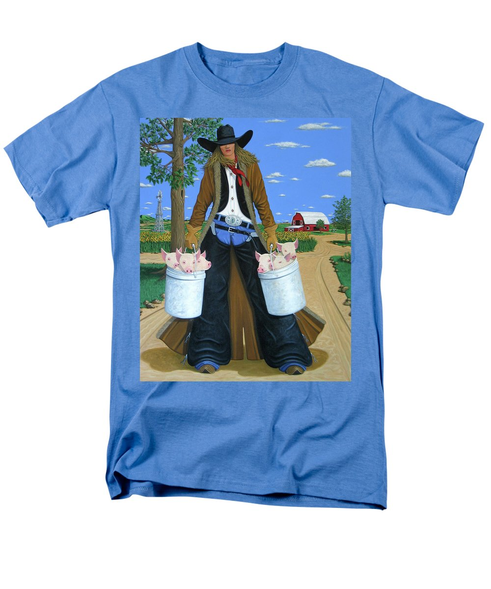 Little Piglets Men's T-Shirt (Regular Fit) featuring the painting Tickled Pink by Lance Headlee