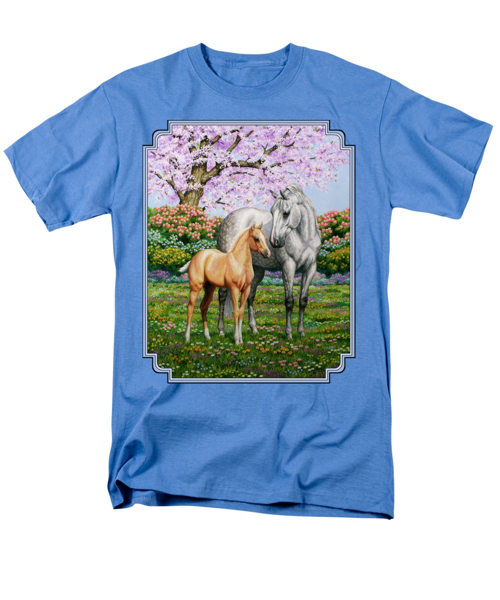 Horse Men's T-Shirt (Regular Fit) featuring the painting Spring's Gift - Mare And Foal by Crista Forest