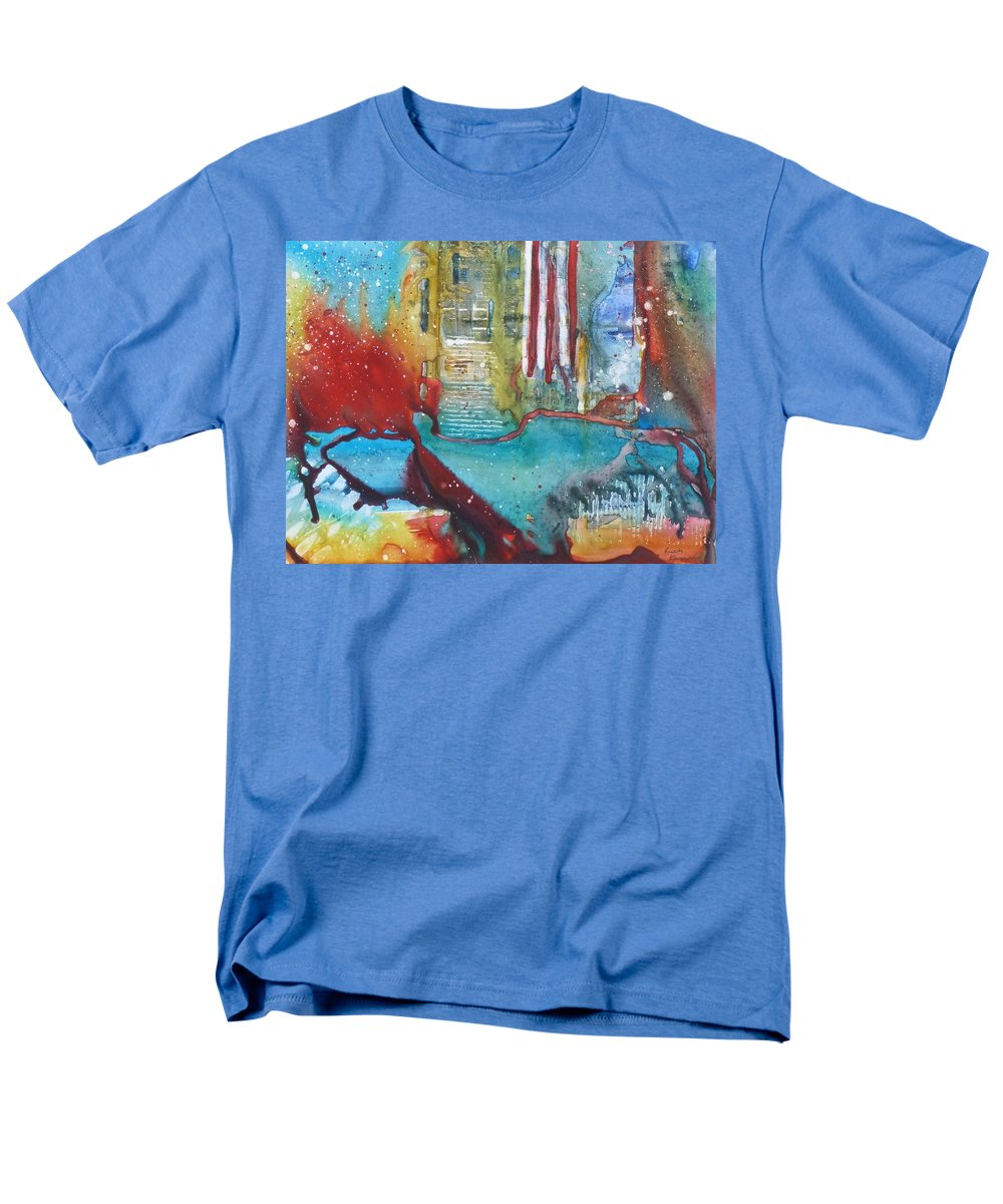 Abstract Men's T-Shirt (Regular Fit) featuring the painting Atlantis Crashing into the Sea by Ruth Kamenev