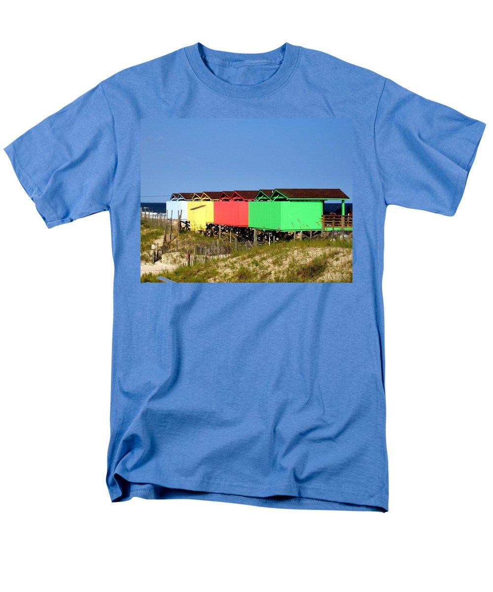 Beach Men's T-Shirt (Regular Fit) featuring the photograph Beach Cabanas by Deborah Crew-Johnson