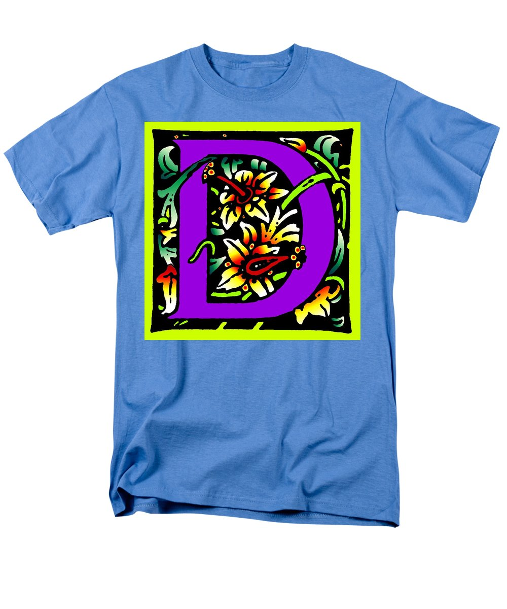 Alphabet Men's T-Shirt (Regular Fit) featuring the digital art D in Purple by Kathleen Sepulveda