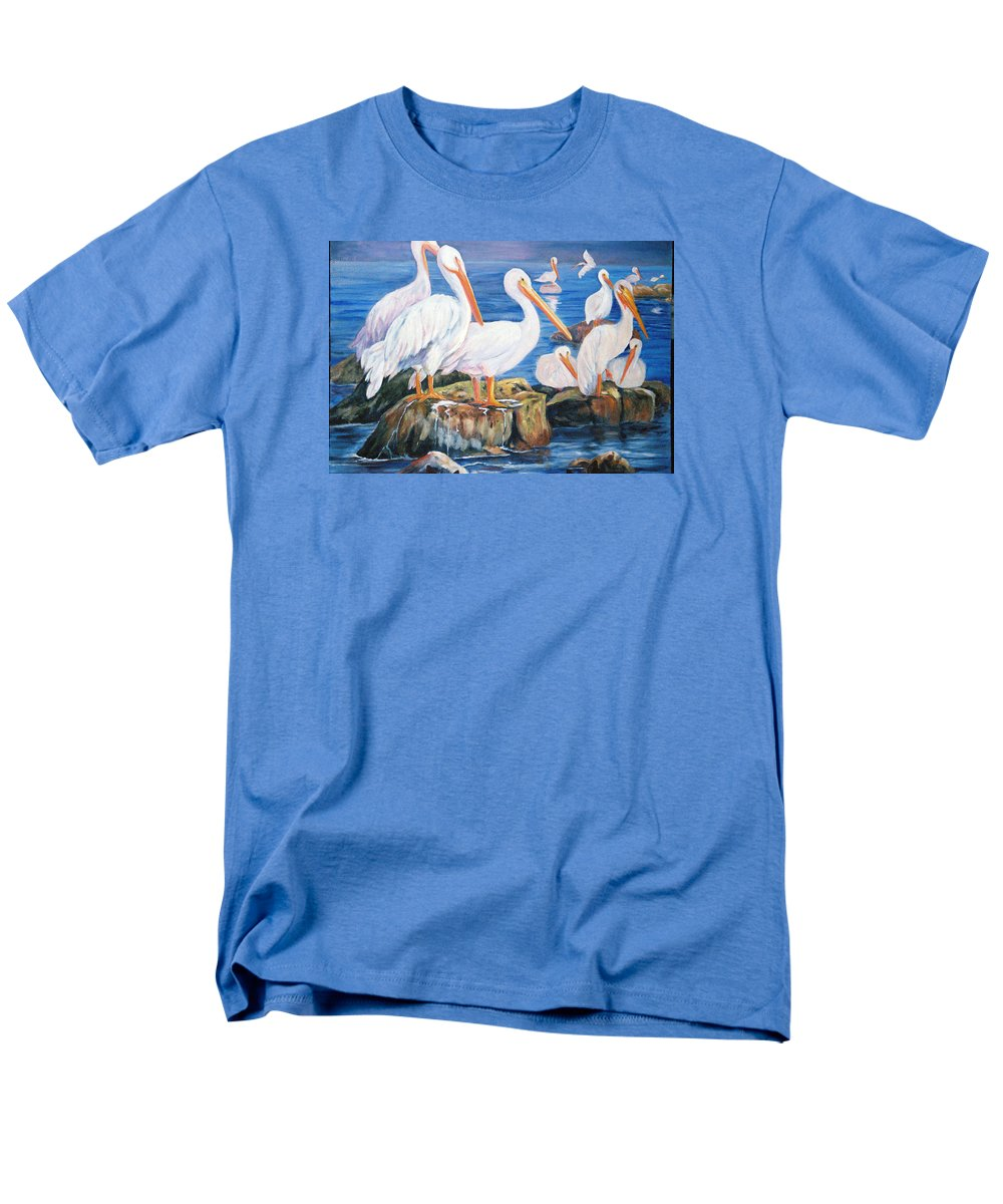 Pelicans On The Louisiana Jetties Men's T-Shirt (Regular Fit) featuring the painting Drippin Wet by Anne Dentler