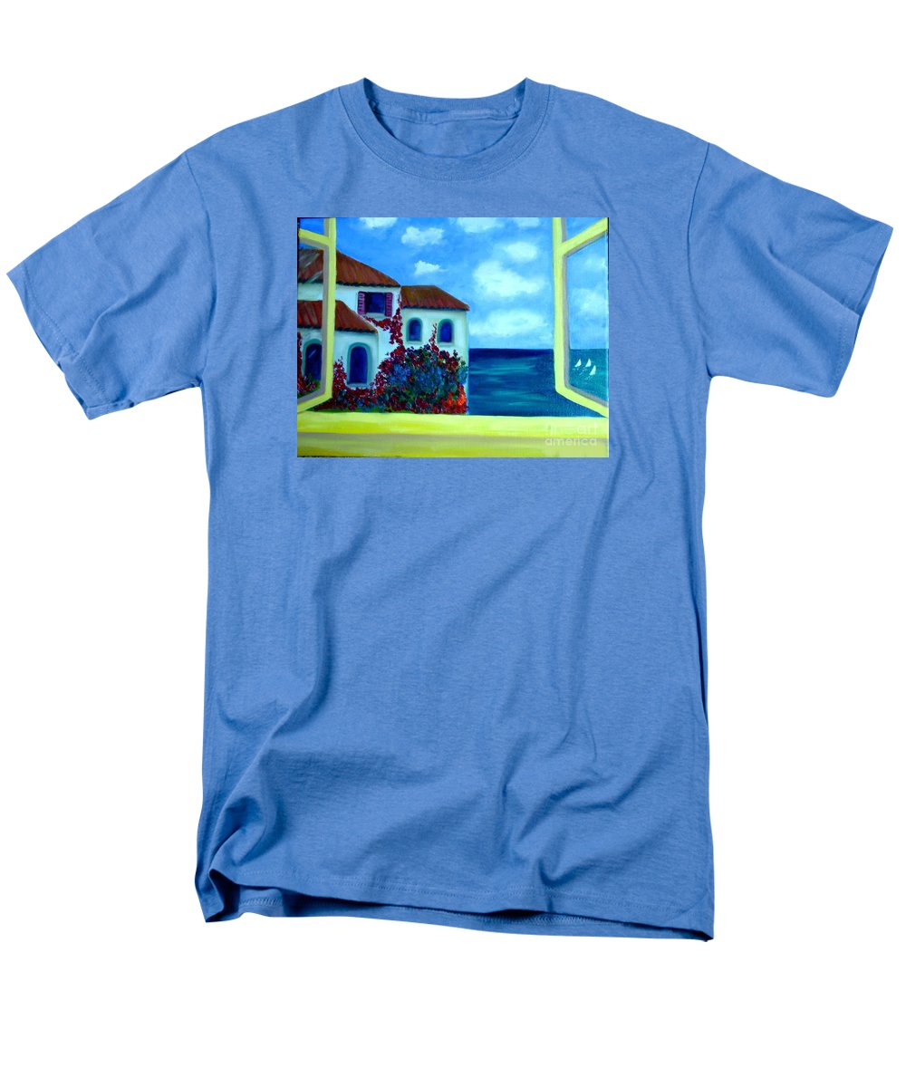 Seascape Men's T-Shirt (Regular Fit) featuring the painting Fresh Sea Air by Laurie Morgan