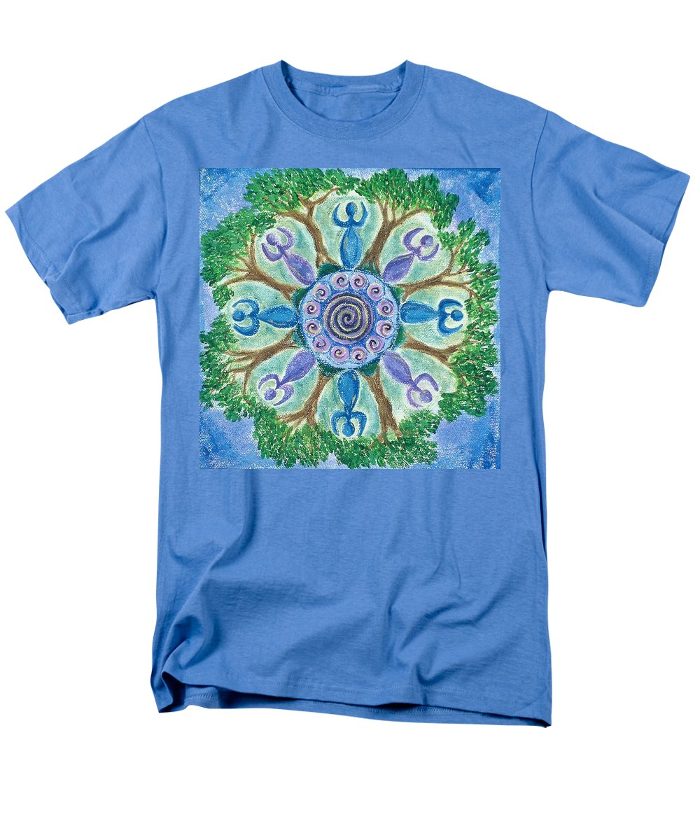 Goddess Men's T-Shirt (Regular Fit) featuring the painting Goddesses Dancing by Charlotte Backman