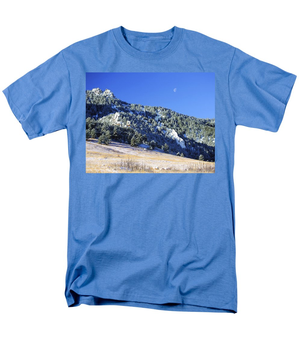 Nature Men's T-Shirt (Regular Fit) featuring the photograph Half Moon Over the Flatirons by Marilyn Hunt