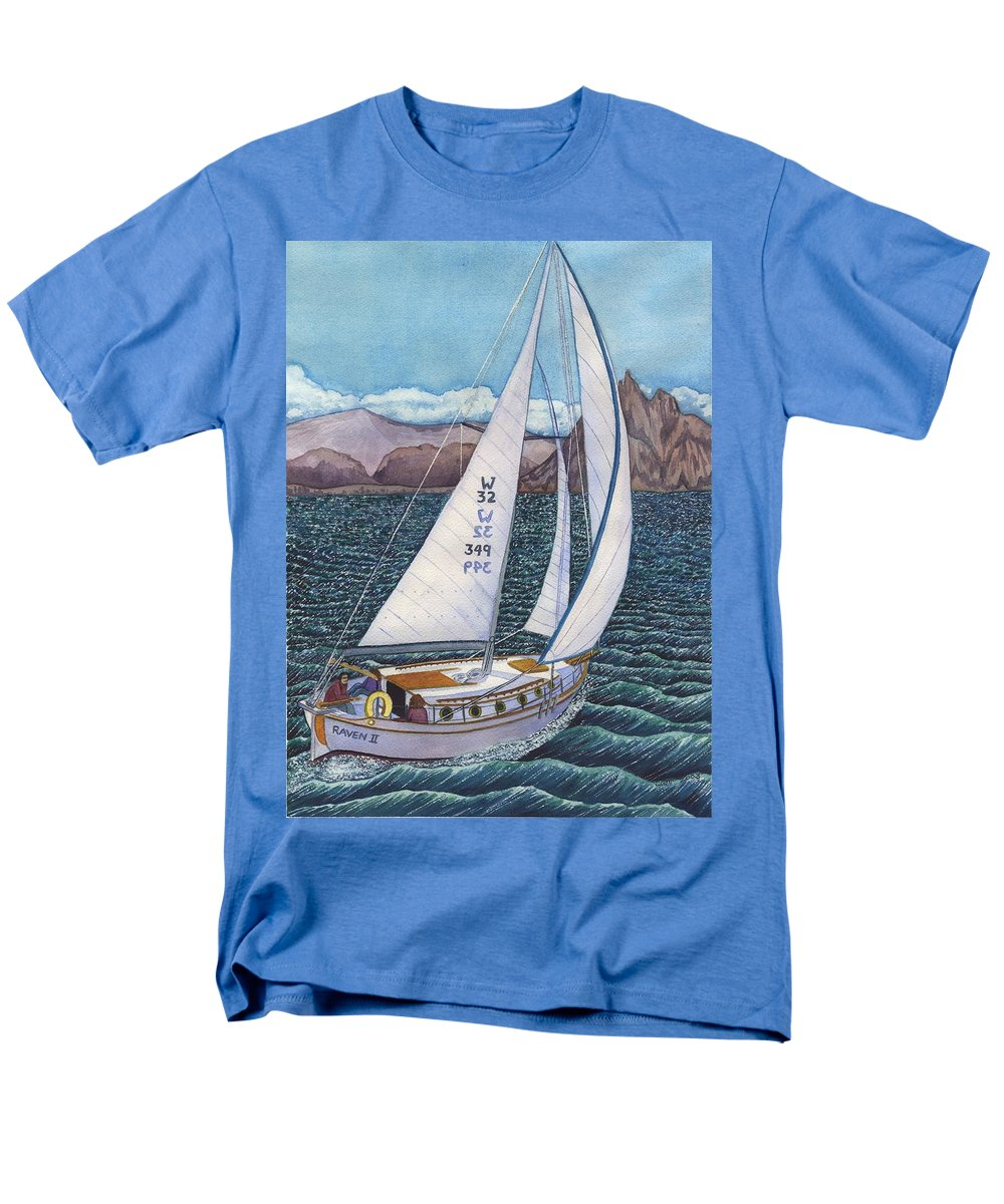 Sailboat Men's T-Shirt (Regular Fit) featuring the painting Sailing by Catherine G McElroy