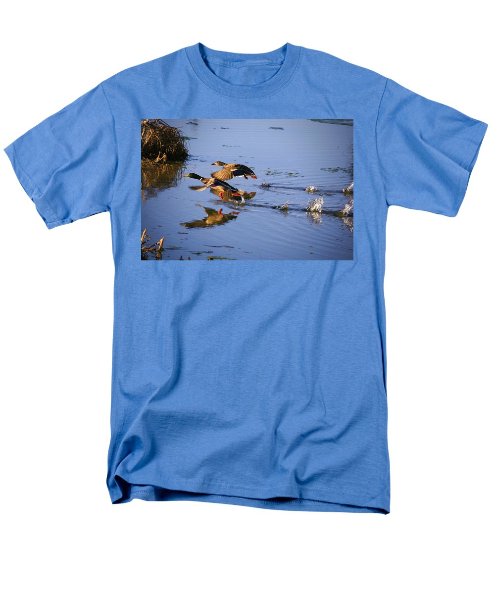 Duck Men's T-Shirt (Regular Fit) featuring the photograph Take Off by Robert Pearson