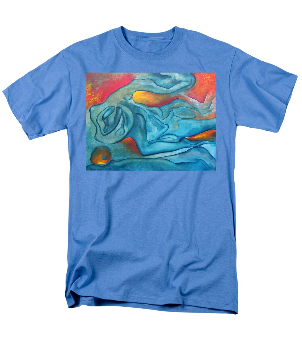 Abstract Blues Love Passion Sensual Earth Men's T-Shirt (Regular Fit) featuring the painting Tangled Up by Veronica Jackson