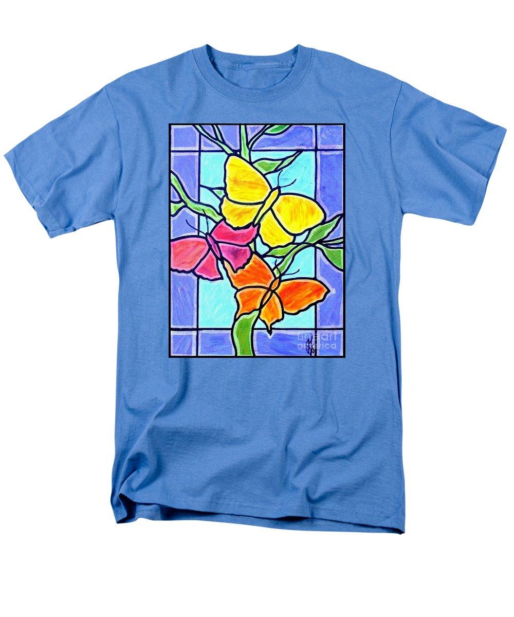 Butterflies Men's T-Shirt (Regular Fit) featuring the painting Three Butterflies by Jim Harris
