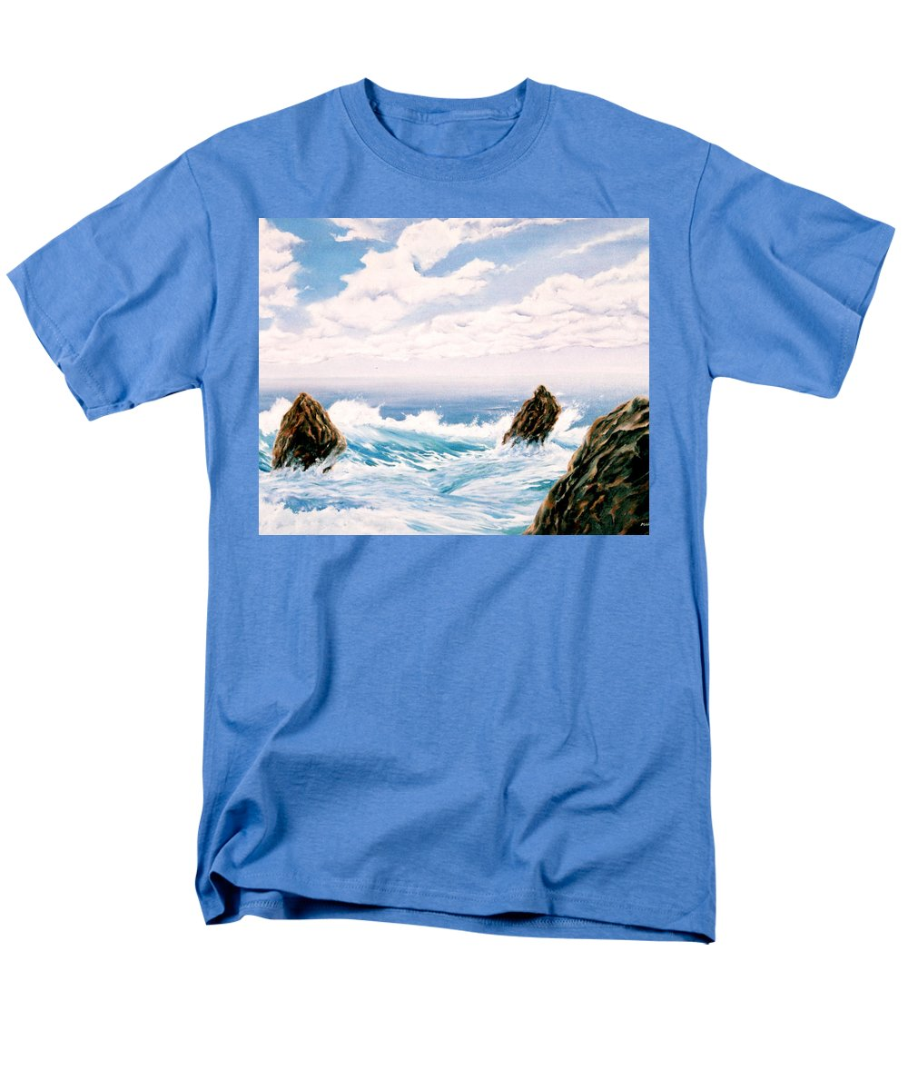 Seascape Men's T-Shirt (Regular Fit) featuring the painting Three Rocks by Mark Cawood