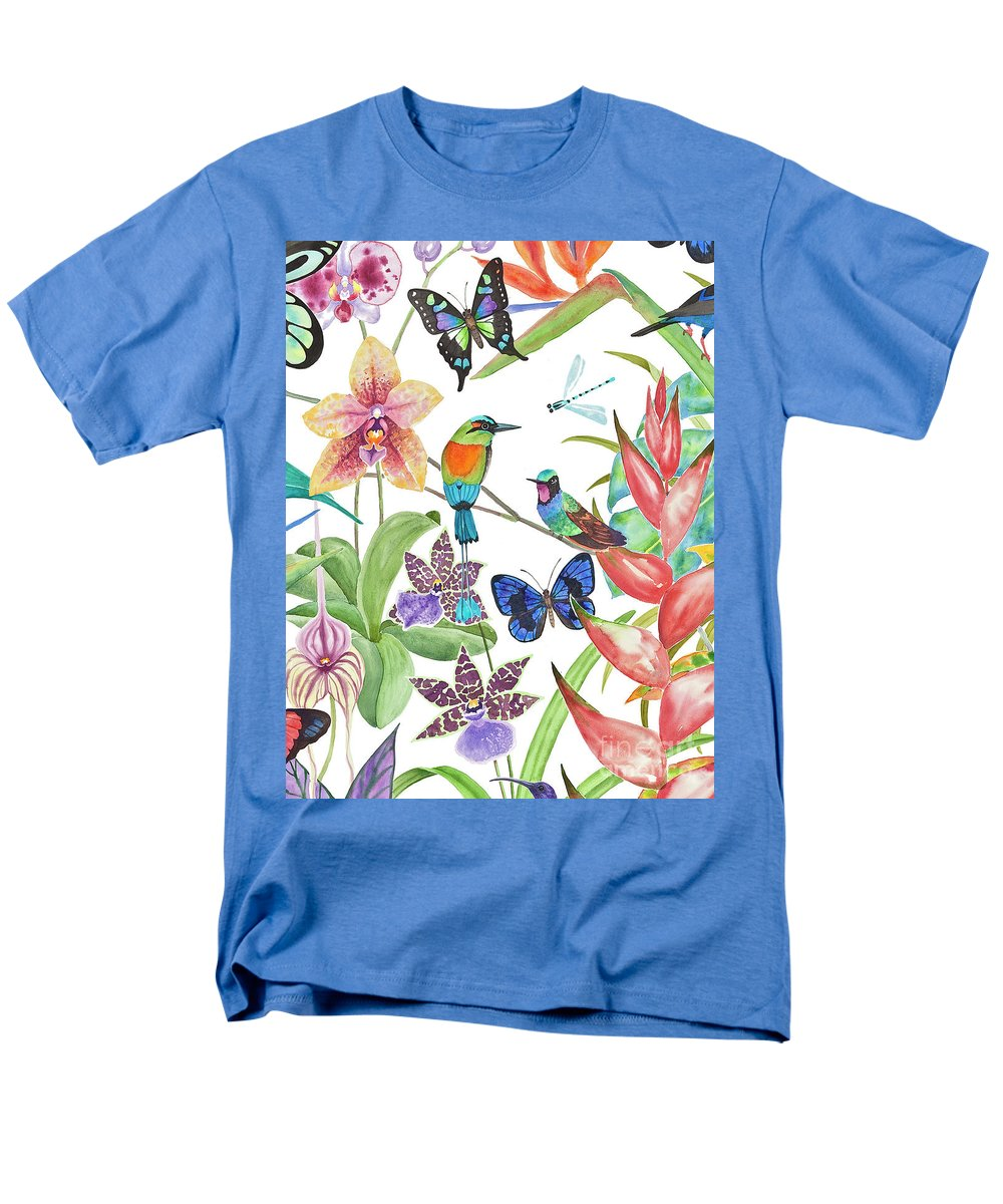 Tropical Birds Men's T-Shirt (Regular Fit) featuring the painting Tropical Paradise Dragonfly by Lucy Arnold