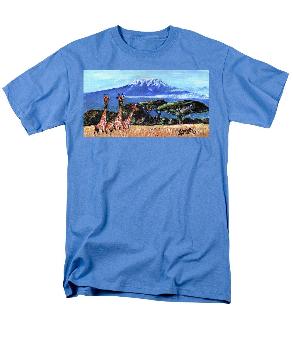 Everett Spruill Men's T-Shirt (Regular Fit) featuring the painting Three Giraffes by Everett Spruill