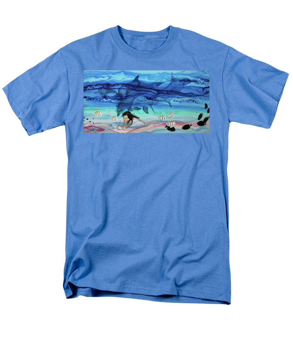 Little Girl Painting Men's T-Shirt (Regular Fit) featuring the painting Little girl painter by Angel Ortiz