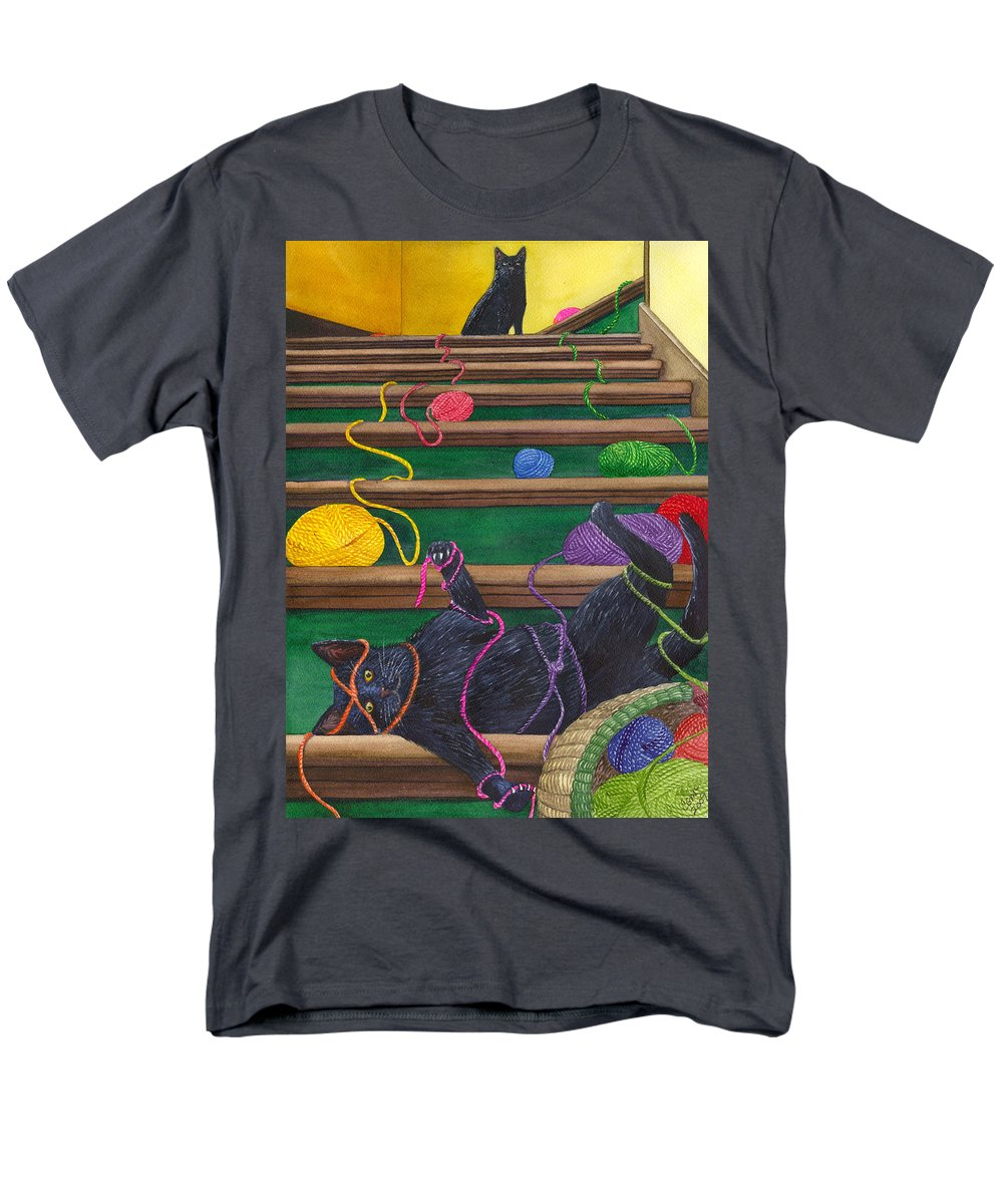 Cat Men's T-Shirt (Regular Fit) featuring the painting All Caught Up by Catherine G McElroy