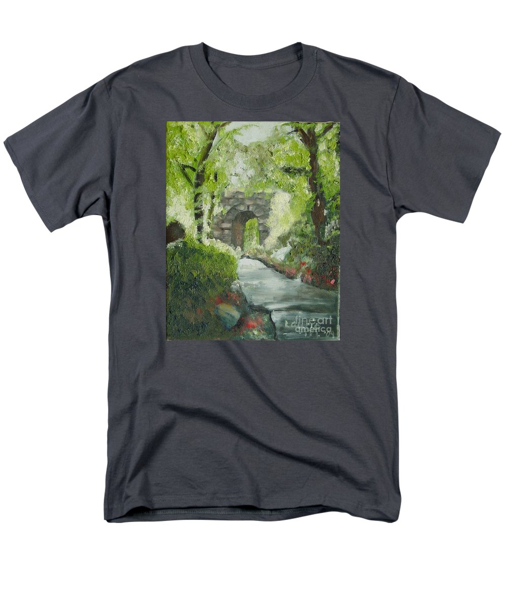 New York Men's T-Shirt (Regular Fit) featuring the painting Archway in Central Park by Laurie Morgan