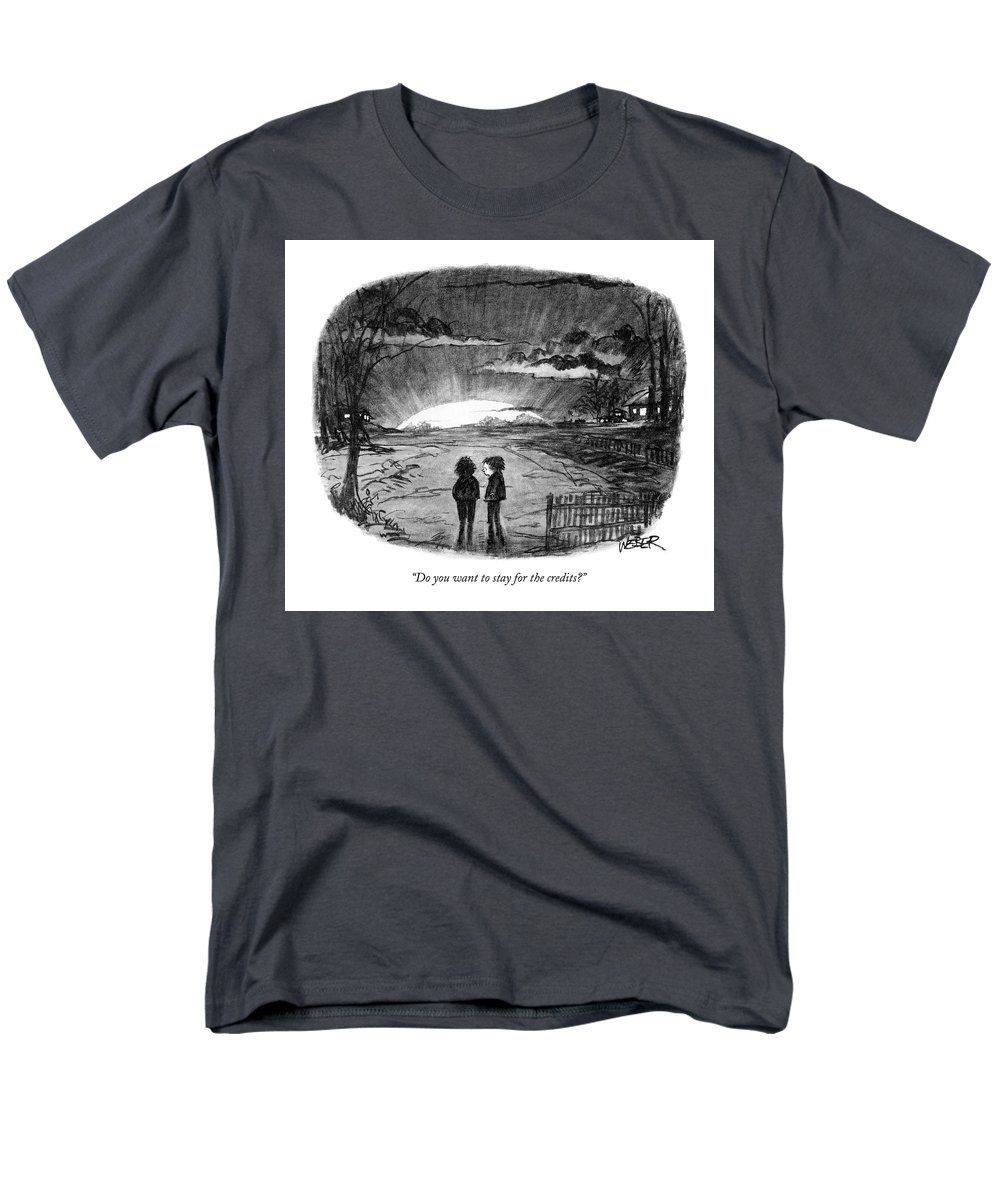 Sunset Men's T-Shirt (Regular Fit) featuring the drawing Do You Want To Stay For The Credits? by Robert Weber