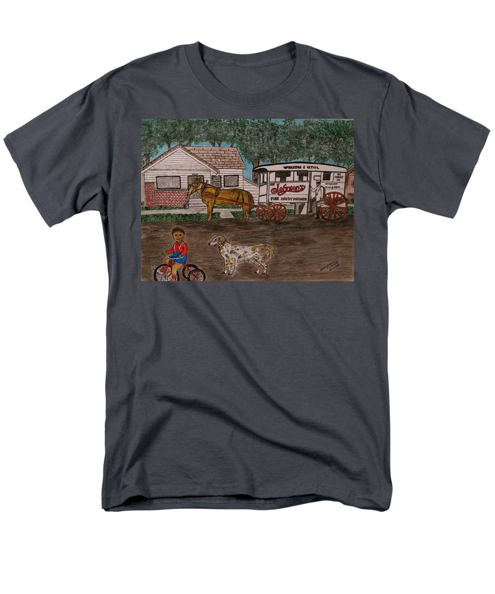 Johnson Creamery Men's T-Shirt (Regular Fit) featuring the painting Johnsons Milk Wagon Pulled by a Horse by Kathy Marrs Chandler