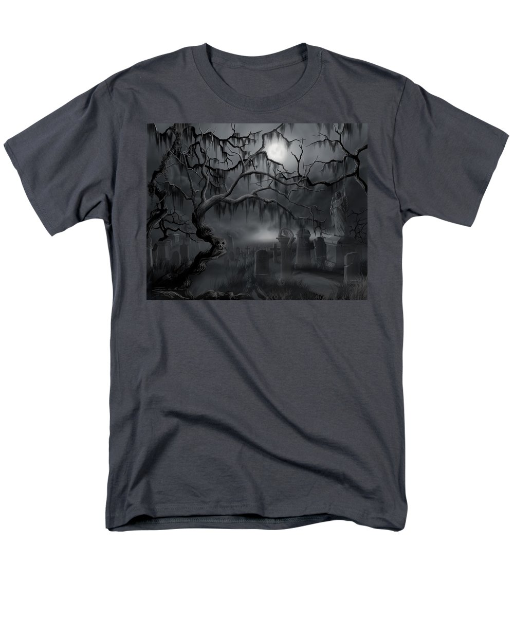 Landscape Men's T-Shirt (Regular Fit) featuring the painting Midnight in the Graveyard by James Christopher Hill