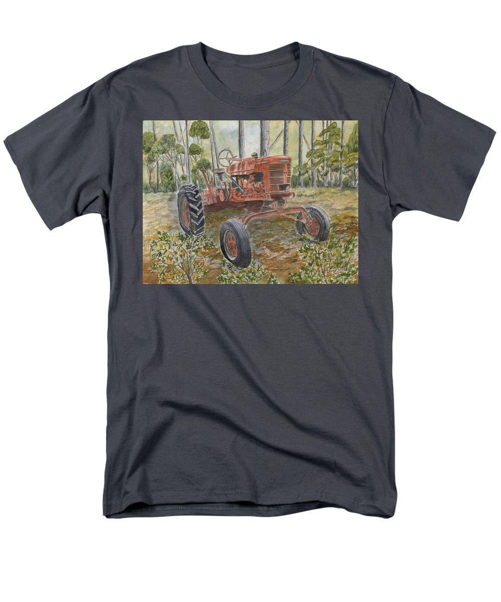 Old Men's T-Shirt (Regular Fit) featuring the painting Old Tractor Vintage Art by Derek Mccrea