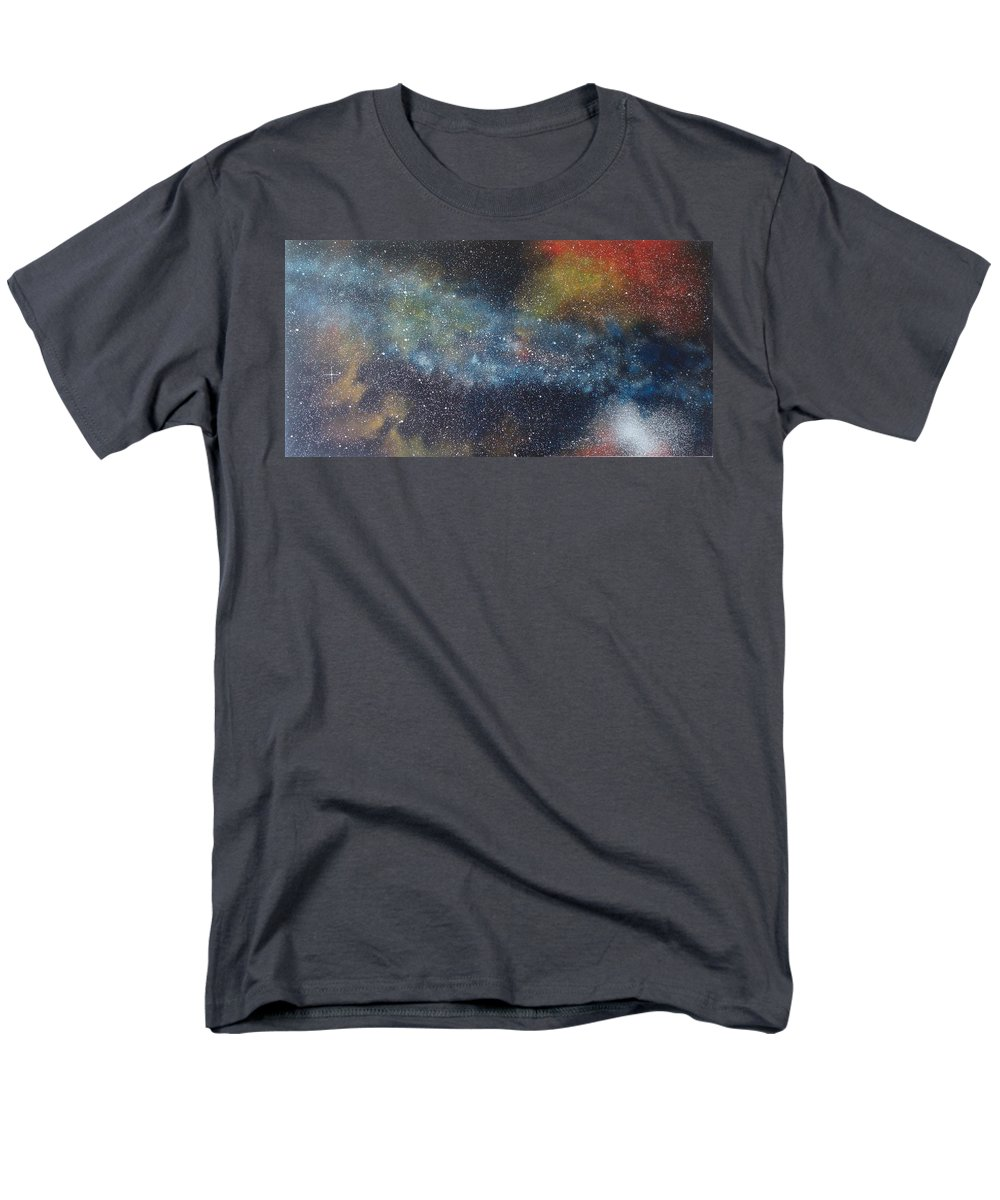 Space;stars;starry;nebula;spiral;galaxy;star Cluster;celestial;cosmos;universe;orgasm Men's T-Shirt (Regular Fit) featuring the painting Stargasm by Sean Connolly