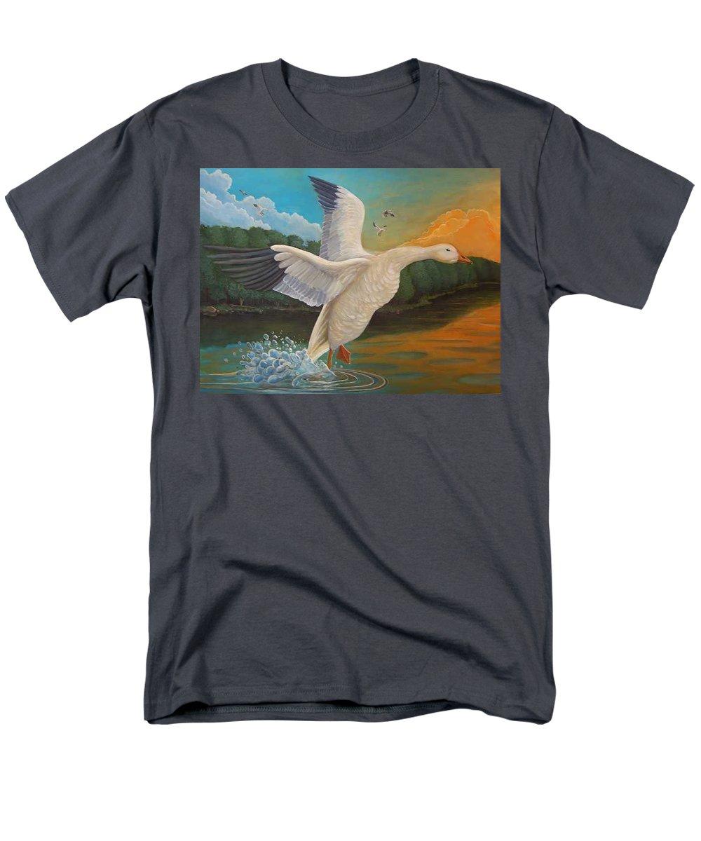Rick Huotari Men's T-Shirt (Regular Fit) featuring the painting The Landing by Rick Huotari